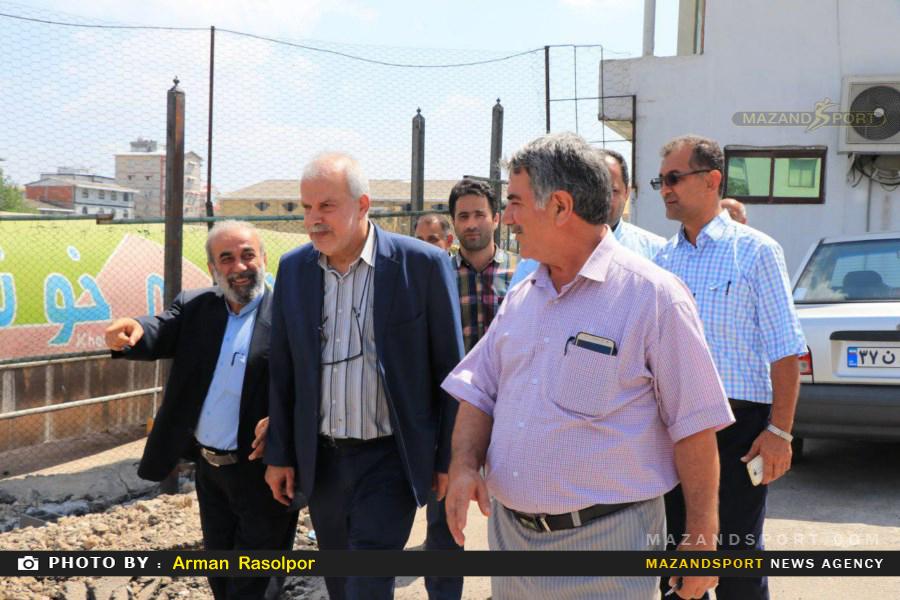 بازدید مهندس بهروان و اعضای هیات فوتبال استان مازندران از زمین ۷تیر بابل