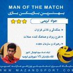 بهترین بازیکن دیدار والیبال کاله مازندران و شهرداری ارومیه انتخاب شد + گرافیک