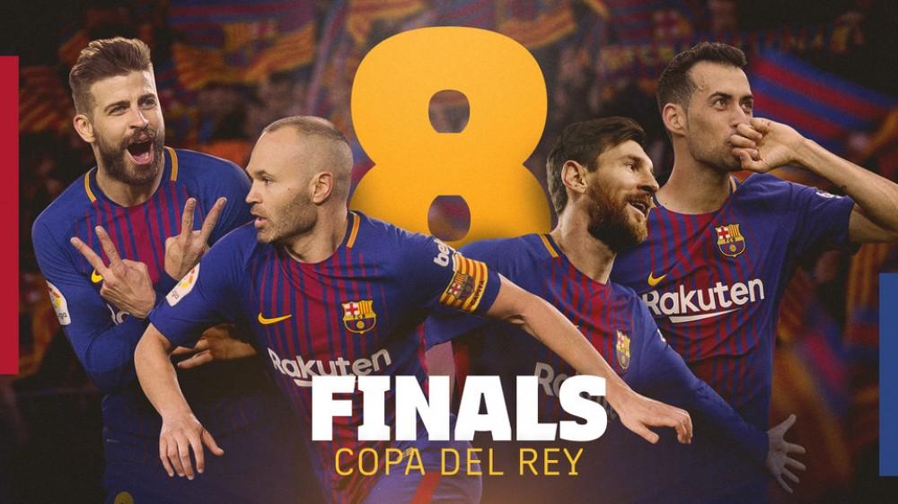 پیکه، مسی، اینیستا و بوسکتس پرچمداران بیشترین حضور در فینال جام حذفی
