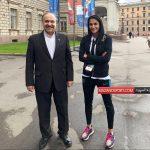 دیدار دختر لژیونر مازندرانی با وزیر ورزش قبل از دیدار ایران و مراکش در روسیه + عکس