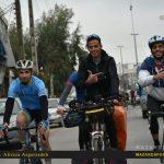 تصاویر استقبال از دوچرخه سوار آملی که دور ایران را با دوچرخه و با شعار آرش کمان گیر گذراند